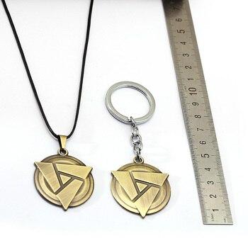 FASHION Game Keychain Necklace Dota 2 Atifact Pendants Metal Keyring Geometric Metal Chaveiro Accessory 1