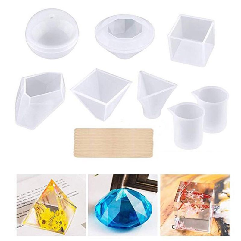 Resin Molds Kit Large Silicone Epoxy Resin Molds Including Cube Pyramid Sphere