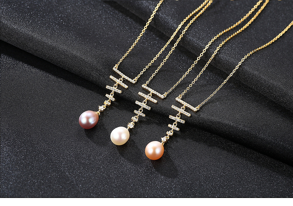 Women's Necklace S925 Sterling Silver Natural Freshwater Pearl Micro Inlay 3A Zircon Jewelry LS06 цена и фото
