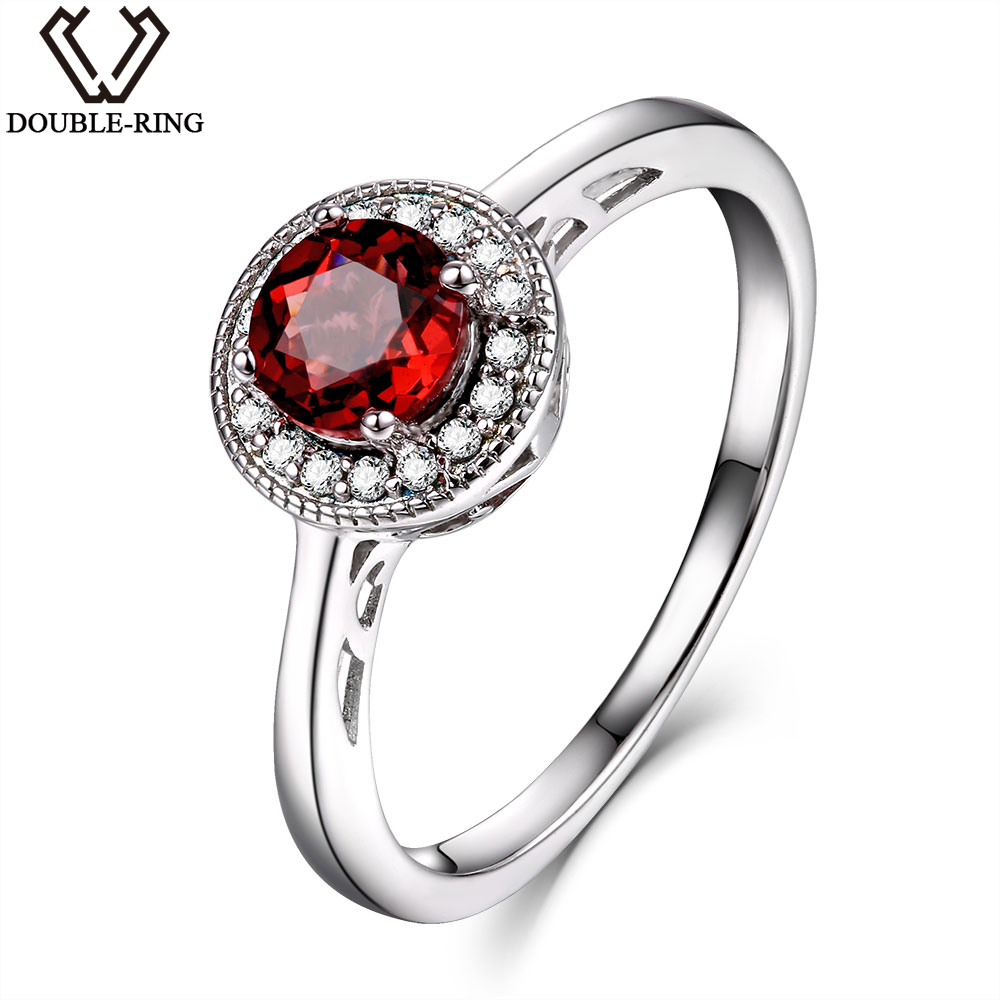 DOUBLE-R 0.65ct Natural garnet Gemstone Ring Female Solid 925 Sterling Silver Round Anniversary Women Ring Classic Fine Jewelry