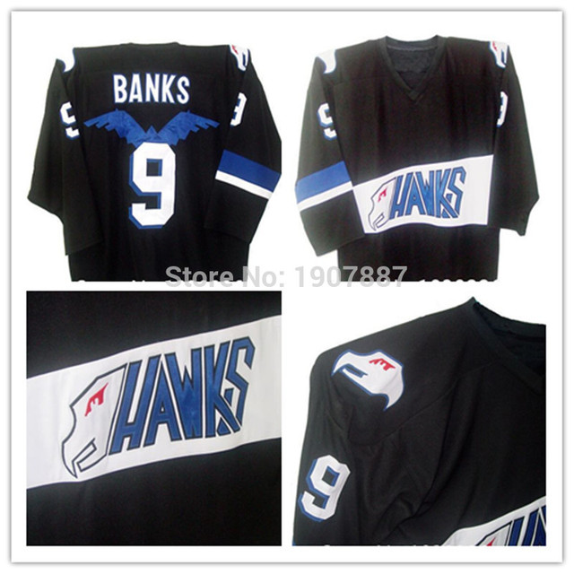 3dd8d516649e Mighty Ducks Movie Hawks Jerseys Adam Banks  9 Hockey Jersey Throwback  Stitched Customized any Name and Number