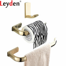 Leyden 3pcs Golden Brass Wall Mounted Towel Ring Holder Toilet Paper Clothes Hook Bathroom Accessories Set