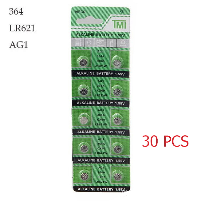 30 PCS Watch Battery 364 621 AG1 1 55V LR621W Alkaline Watch Accessories Toys Remote font