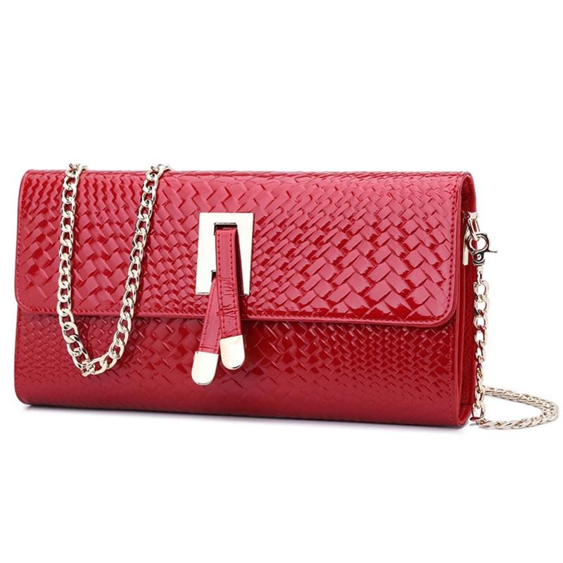 2016 New Patent Leather Knitting Women Messenger Bags Clutch Chain Shoulder Handbag Evening Bag Cell Phone Pocket Purse Flap patent leather handbag shoulder bag for women