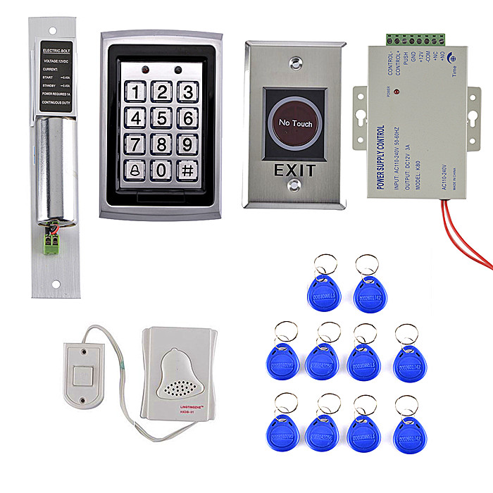 125KHz RFID ID Card Reader Metal Case Door Access Control System Kit + Electric Bolt Lock +IR NO TOUCH Door Button raykube glass door access control kit electric bolt lock touch metal rfid reader access control keypad frameless glass door