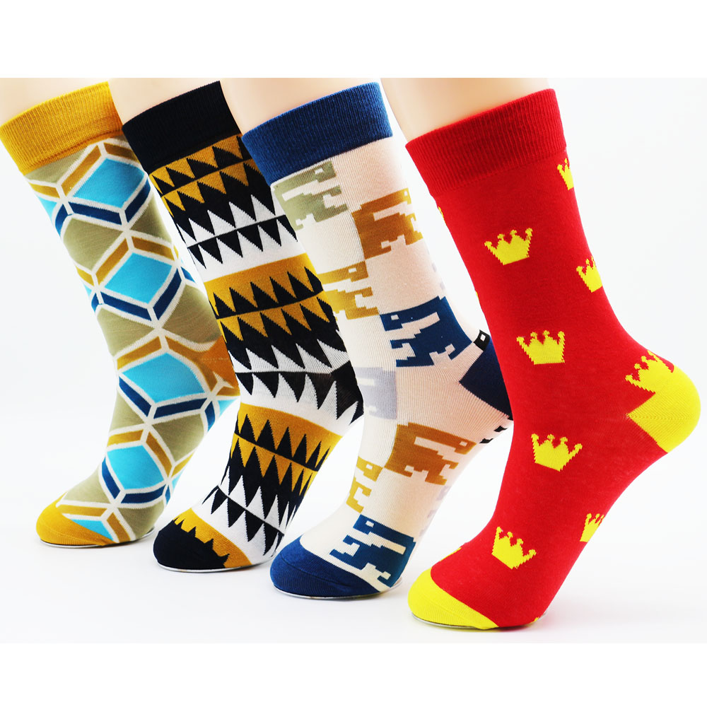 Winter mens funny high quality hip hop fashion casual cotton long skateboard socks(4 pairs)