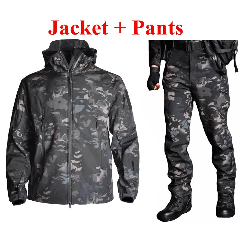 TAD Tactical Men Army Hunting Hiking Fishing Explore Clothes Suit Camouflage Sharkskin Military Waterproof Hooded Jacket
