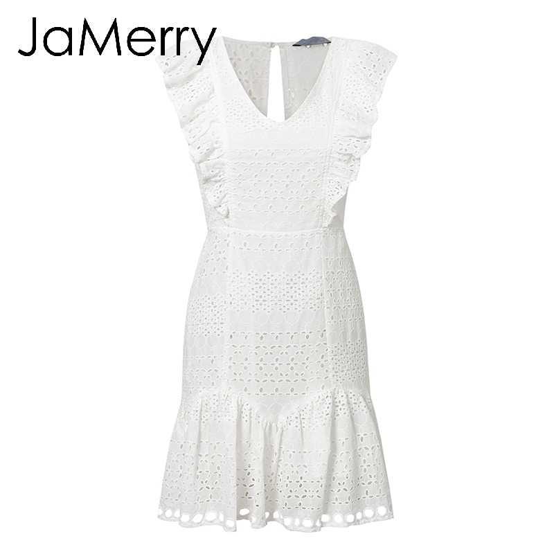 JaMerry Vintage blanco de encaje de algodón bordado mujeres vestido Ruffled Primavera Verano mini vestido Sexy Fiesta vestidos cortos 2019 vestidos