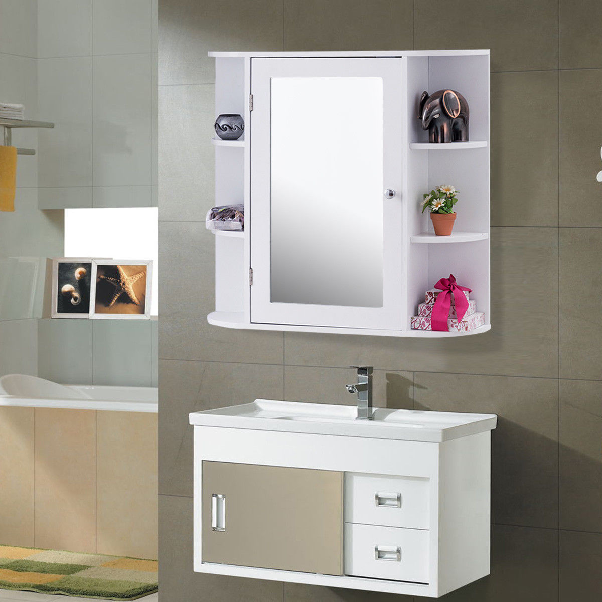 Tremendous Giantex Mount Wall Surface Bathroom Storage Cabinet Withmirror Wood Bathroom Furniture Bathroom Vanitiesfrom Home Giantex Mount Wall Surface Bathroom Storage Cabinet bathroom White Wood Bathroom Shelves