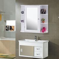 Giantex Multipurpose Mount Wall Surface Bathroom Storage Cabinet with Mirror White Modern Wood Bathroom Furniture HW56729