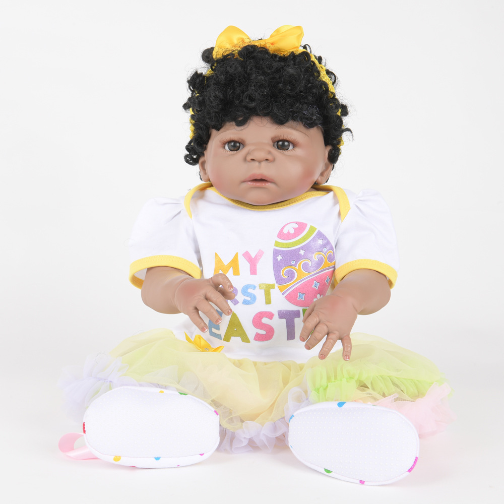 55cm Soft Full Silicone Reborn Baby Lifelike Newborn Princess Girl Dolls for Kids Toy Christmas Birthday Xmas New Year Gift недорого