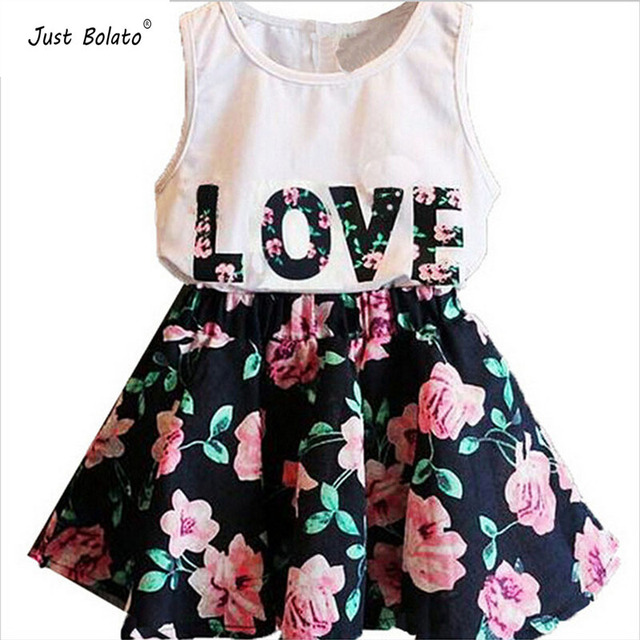 4ce576267e0 Summer Baby Girl Dresses 2 Pcs Set White T-shirt Print Love   Kid Floral  Elastic Mini Dress For Party Wedding Cloth Just Bolato