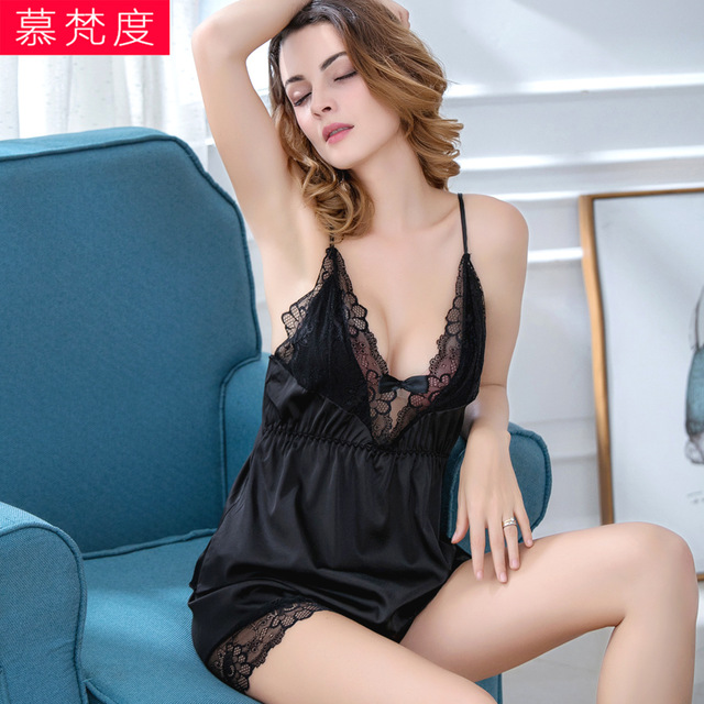 Pajamas Set Lacy Nighties Gown Sexy V Pyjamas Nuisette Hot Women Porn Lingerie Clothes Robe Lace Intimates Erotic Underwear
