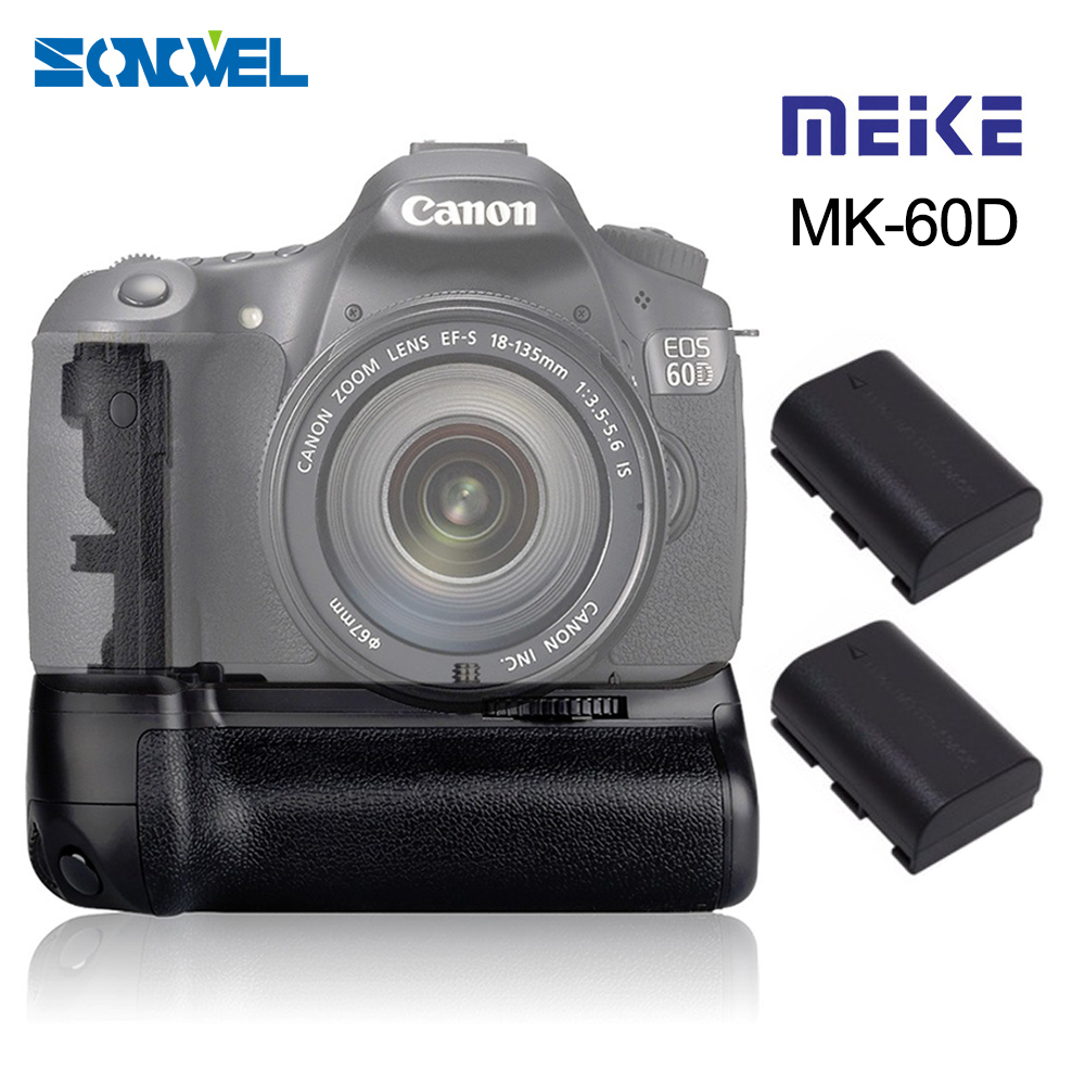 Meike MK-60D Professional Vertical Battery Grip Holder with 2pcs LP-E6 Batteries for Canon EOS 60D Camera Replace as BG-E9 camera battery grip pixel bg e20 for canon eos 5d mark iv dslr cameras batteries e20 lp e6 lp e6n replacement for canon bg e20