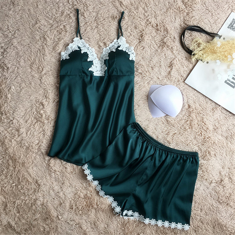 Two Piece Set Summer Women Sleepwear Pajama Set V-neck Lace Pyjamas Sexy Satin Green Ladies Pijama womens Sleepwear Homewear ...