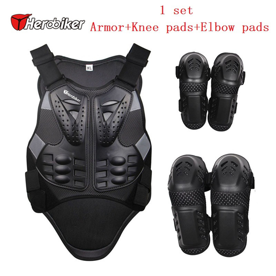 Free shipping 1Set Motorcycle Motocross Sports Safety Protective Gear Armor+Knee pad+Elbow pad купить