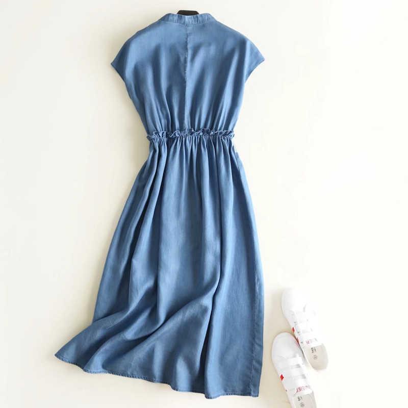 Платье Новое высокое качество модное летнее с коротким рукавом однотонное джинсовое платье с отложным воротником платье женское платье 2019 Прямая поставка