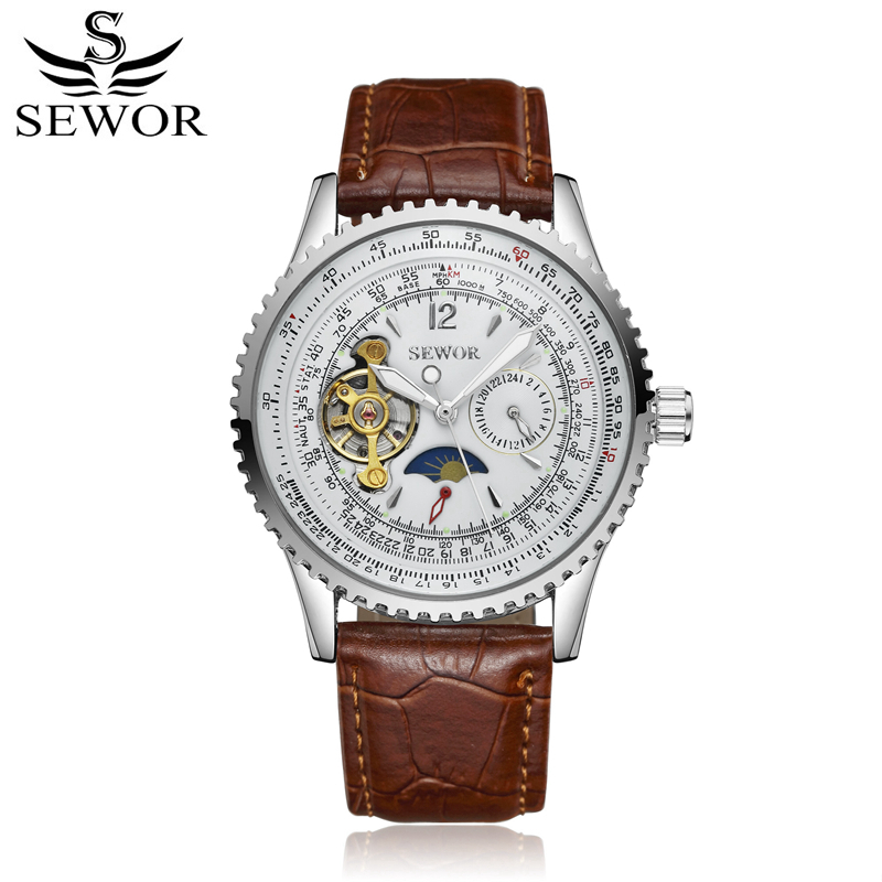 SEWOR Mechanical Automatic Self-Wind Original Watch Leather Stainless Steel Tourbillon Moon Phase Wristwatch Mens With Box SWQ45