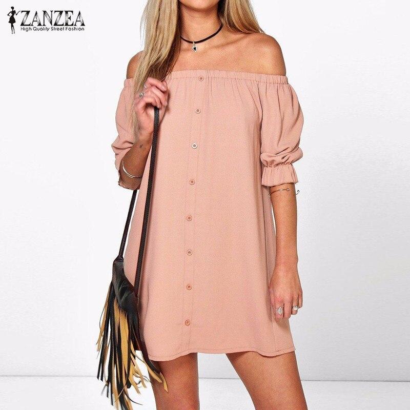 ZANZEA Frauen Vestidos 2017 Sexy Schulterfrei Mini Party Kleid Beiläufigen Losen Halben Hülse Trägerlose Kleider Lange Tops Plus Größe