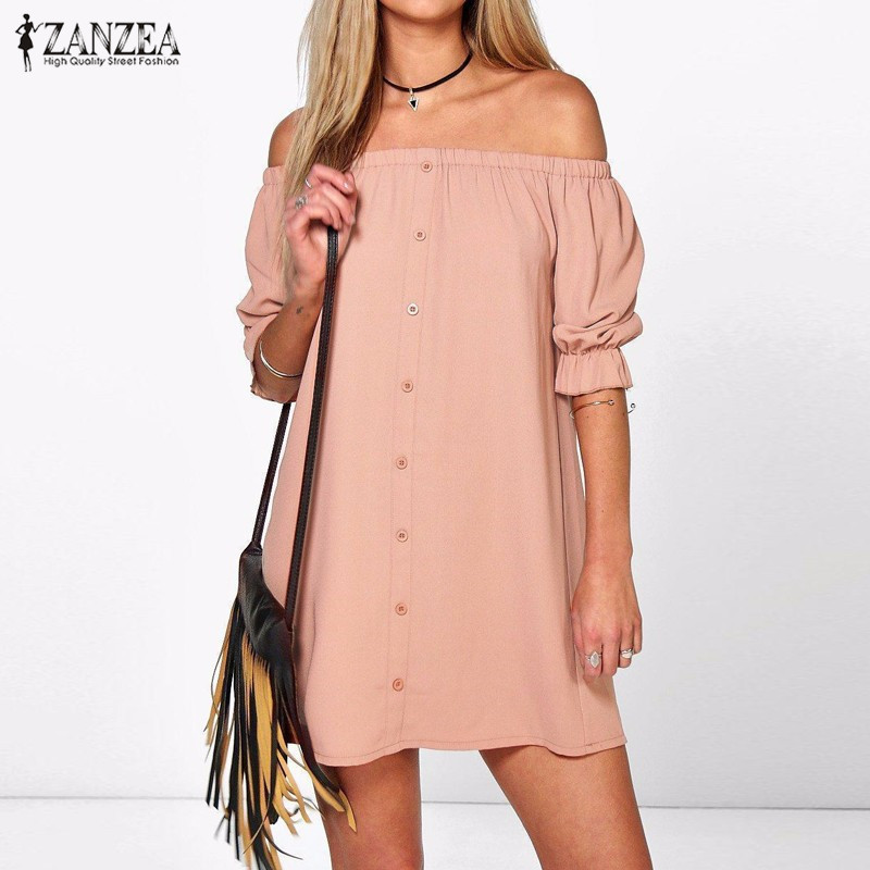 ZANZEA Women Vestidos 2018 Sexy Off Shoulder Mini Party Dress Casual Loose Half Sleeve Strapless Dresses Long Tops Plus Size