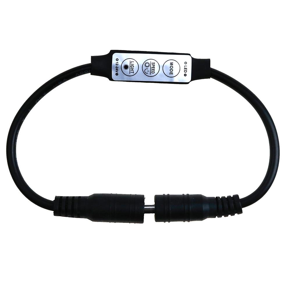50pcs Dimmer Controller Switch Mini DC 12V 24V 3 Keys Dual DC Plug For Single Color SMD5050 3528 2835 3014 5730 LED lamps Light