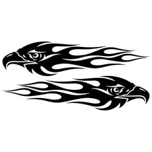 20*4.7CM Pair Eagle Flames Car Sticker Personalized Motorcycle Waterproof Stickers Styling Accessories