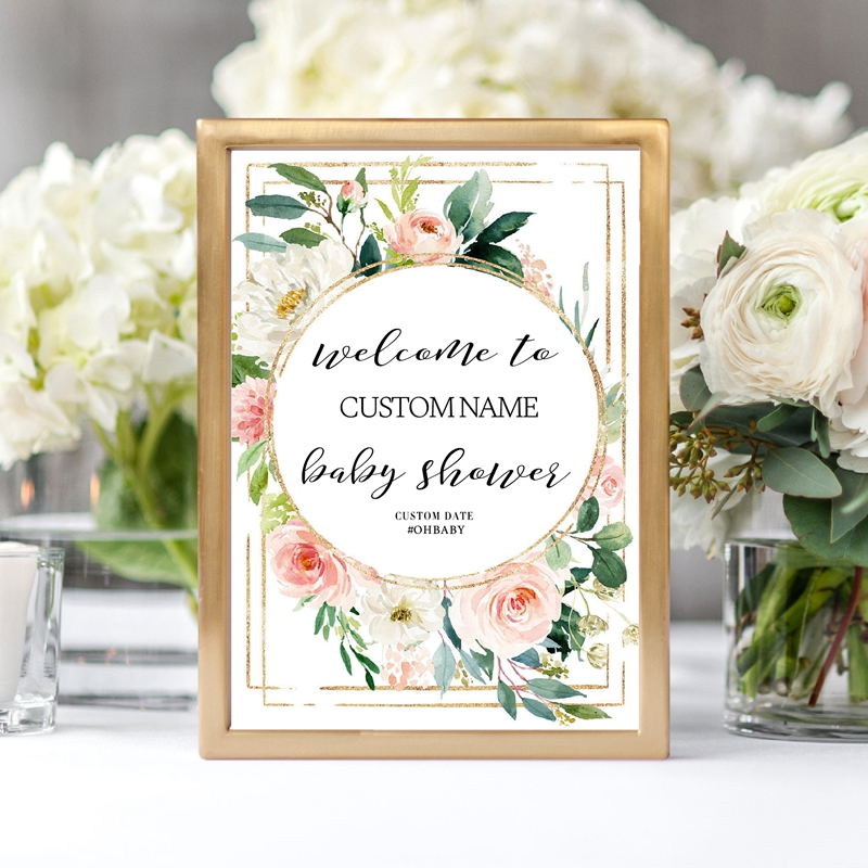 Welcome Baby Shower Sign Canvas Prints