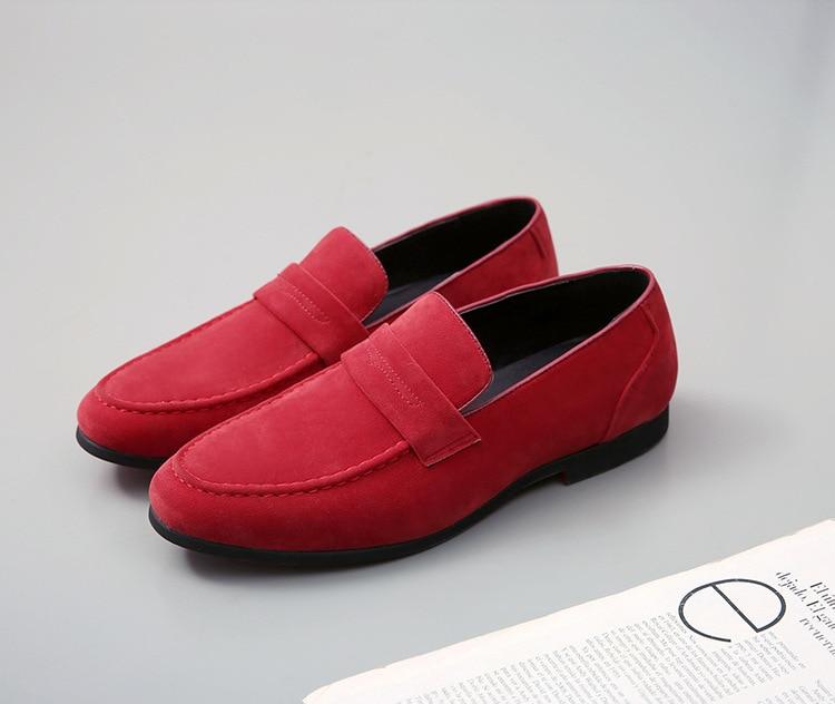 Для мужчин повседневная обувь низкая плоская обувь мужские лоферы без шнуровки для вождения темно-синий и красный цвета обувь мода Мужская ...
