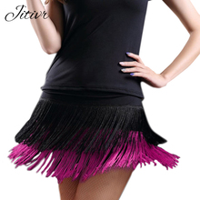 2017 Women's vestidos Latin Dance Skirt Double Layer Tassel Short Skirt Samba Sexy Lady Dance short Skirt Female Clothes