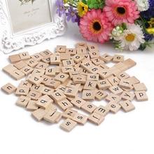 Wooden Alphabet Scrabble Tiles Black Letters Crafts Wood 100 PCs New