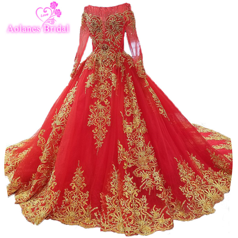 2018 New Arrival Vestidos De Festa Ball Gown Prom   Dress   Full Sleeves Red Tulle Gold Lace   Evening     Dresses   Real Photos Custom Made