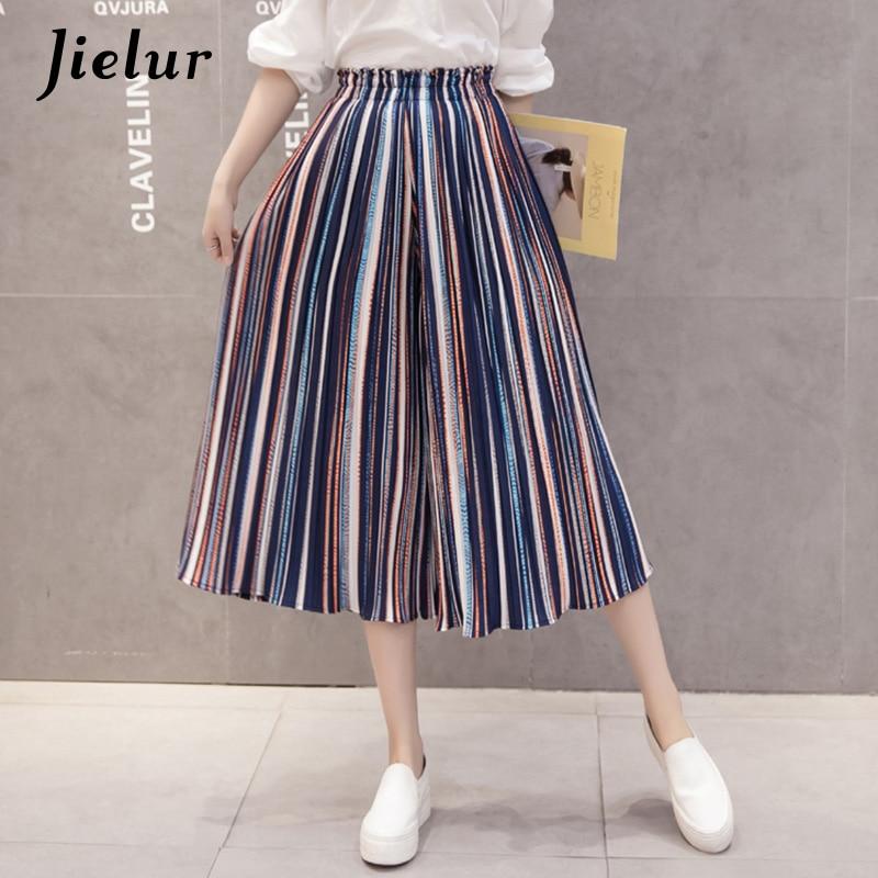 Jielur Fashion Beach Stripe Pleated Chiffon Pants Summer Chic S-XL Ankle-Length Wide Leg Pants Women Loose Lady Pantalon Femme