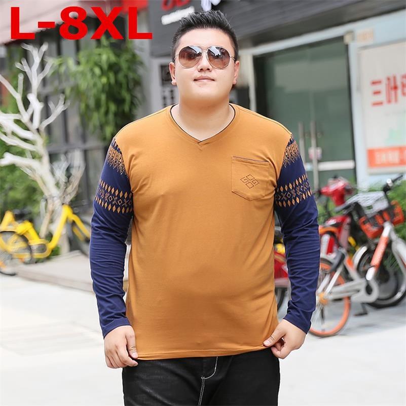 Большие размеры 9XL 8XL 7XL6XL футболка с длинным рукавом для мужчин свободный крой хлопок 2018 Весна новые модные повседневные топы Модные пуловеры плюс размер