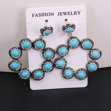 3Pairs ZYZ184 9003 Handmade Jewelry Blue Howlite Stone Pave Rhinestone Flower Dangle Earrings For Women