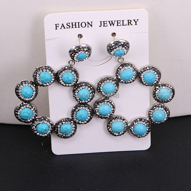 3Pairs ZYZ184 9003 Handmade Jewelry Blue Howlite Stone Pave Rhinestone Flower Dangle Earrings For Women