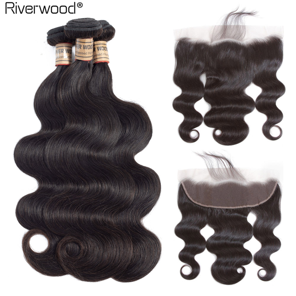 Malaysian Body Wave Bundles With Frontal 13X4 Free Part Pre-Plucked Ear To Ear Closure With Body Wave Bundles Hair NonRemy Weave
