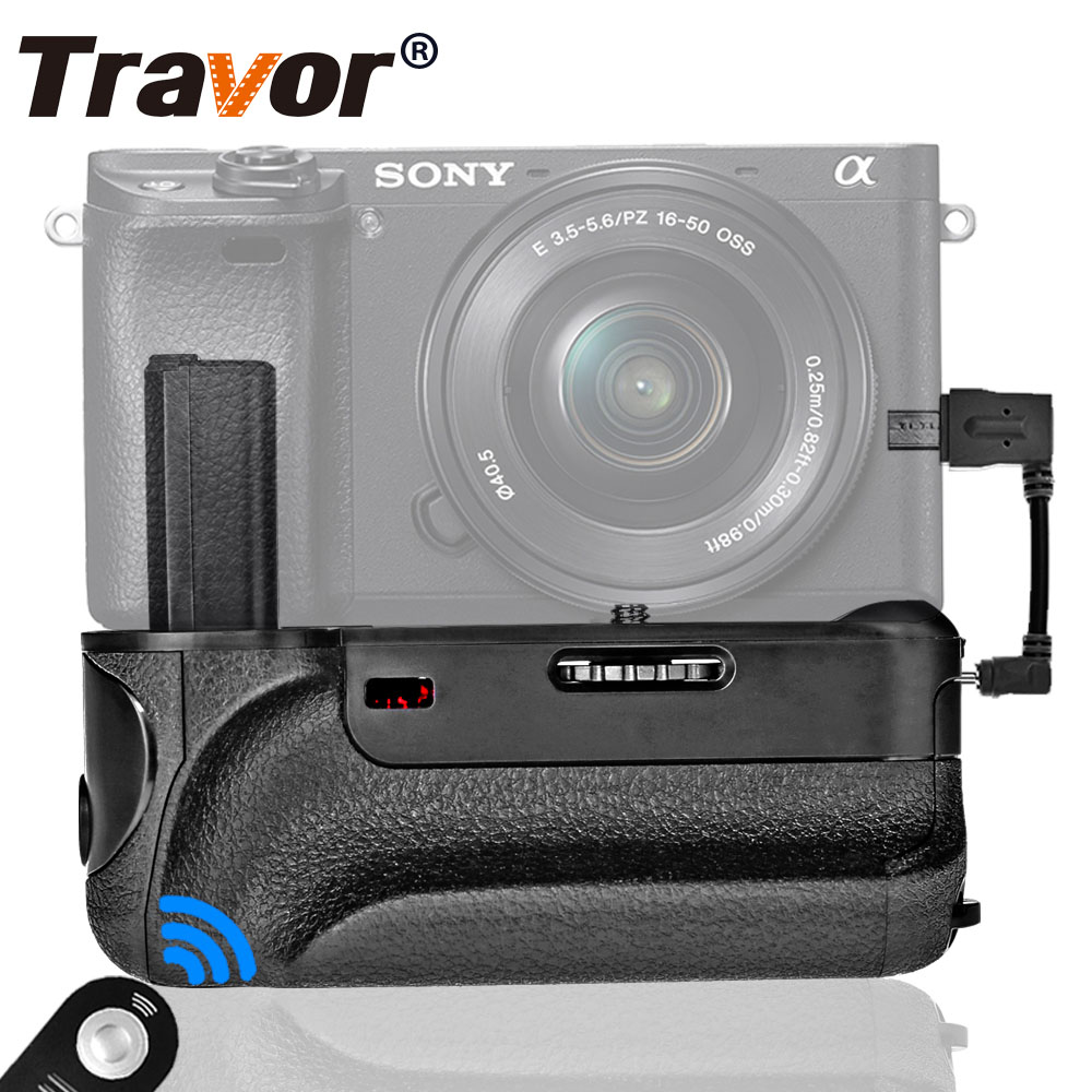 Travor vertical battery grip for Sony A6000 Mirrorless Digital Camera with IR function work with NP