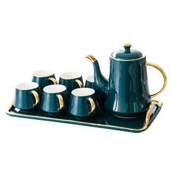 Casa del tè set con vassoio Britannico tazza di tè rosso [1 Teiera + 6 Tazze + 1 Vassoio] Set europeo di lusso tazza di caffè di Ceramica set Regalo Scatola di