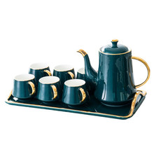 Home tea set with tray British red cup [1 Teapot + 6 Cups 1 Tray] Set European luxury Ceramic coffee Gift Box