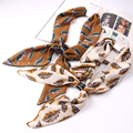 Luna&Dolphin Luxury Brand 70x70cm Chiffon Square Scarves Leaves NeckerChief Lady Headband Collar With Leather Buckle