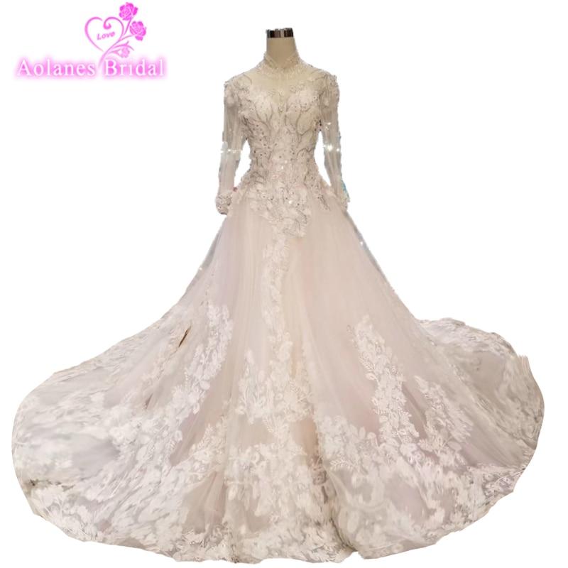 Elegant Floral Arab Long Train Wedding Dress 2019 Sheer Plus Size Romantic Luxury Flower Wedding Gown champagne Bridal Dress