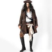 Взрослых Для мужчин престиж капитан самых известных пират Джек Воробей Хэллоуин Косплэй костюм