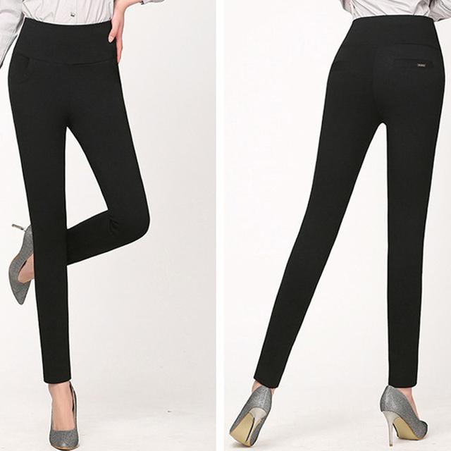 Señoras de Las mujeres Más El Tamaño de Cintura Alta Pantalones Elásticos Sexy Lápiz Slim Fit Pantalones Flacos de Negro Vino Blanco Azul Leggings