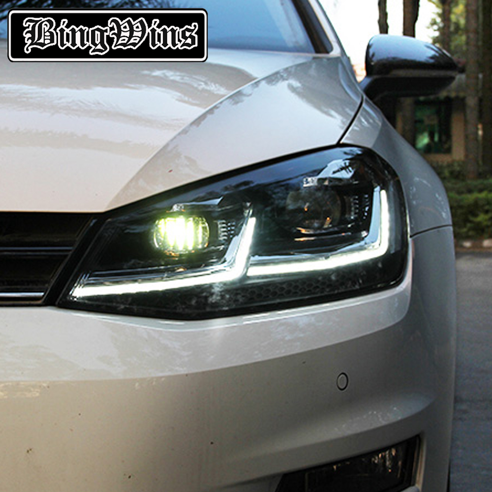 Car Styling For VW Golf7 Headlights Golf 7 MK7 LED Headlight DRL Lens Double Beam H7 HID Xenon bi xenon lens high quality car styling case for vw beetle 2013 2014 headlights led headlight drl lens double beam hid xenon car accessories