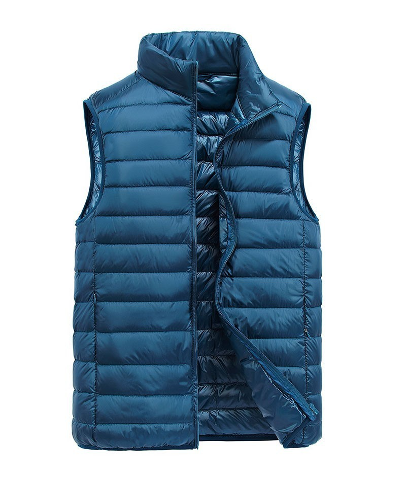 2018 New Sleeveless 90 White Duck Down Jackets Vest Slim Waistcoats Warm Stand Collar Casual Cargo Military Tanks Business in Down Jackets from Men 39 s Clothing