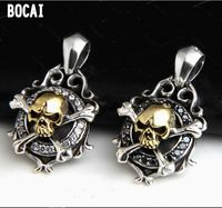 925 Silver Retro Mature Individuality Fashion Pirate Skull Zircon Punk Thai Silver Pendant