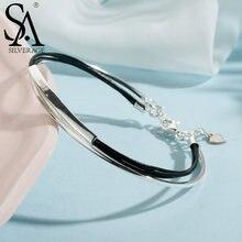 Sa silverage браслет из натуральной кожи 925 пробы для женщин