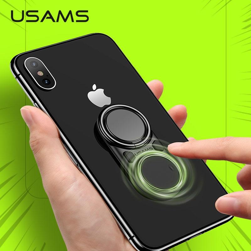 USAMS Finger-Ring-Holder iPhone Xr 360-Rotating Multifunction Metal for Decompression