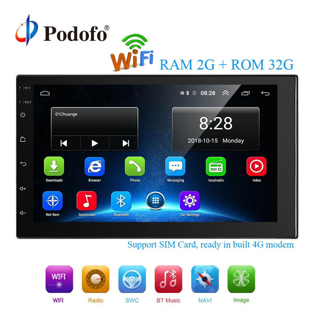 Podofo 2 Din Android font b Car b font Multimedia 2G 32G 7 Inch font b