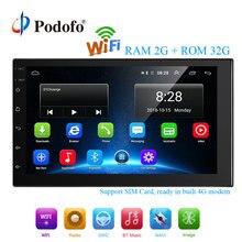 Podofo 2 Din Android Car Multimedia 2G + 32G 7 Pollici Car Radio di Navigazione di GPS WIFI Bluetooth MP5 sostegno del giocatore di 4G LTE SIM di Rete